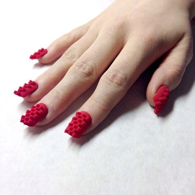 Fingernail 3D printed from digital design.