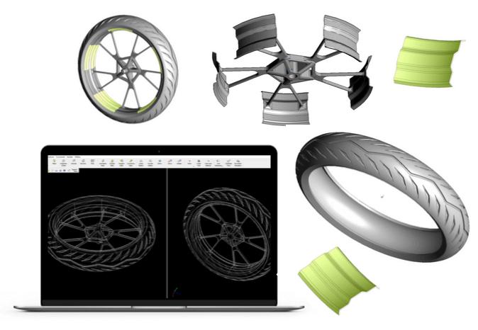 Digital design of a wheel made with a CAD sfotware.