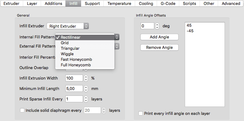 drop down menu for simplify3d